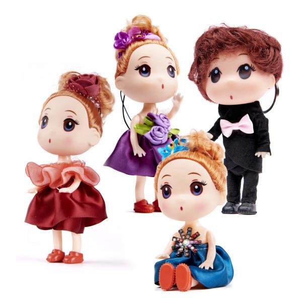 Panenky 3 dívky a chlapec 12 cm