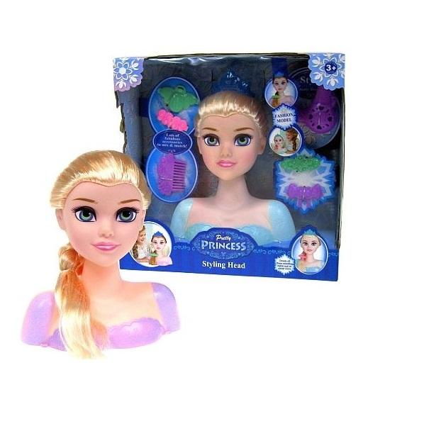 Princeznina česací hlava s doplňky - blond