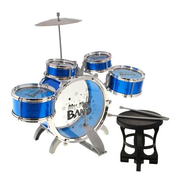 Dětské bicí nástroje 5 dílny + židle - modrá