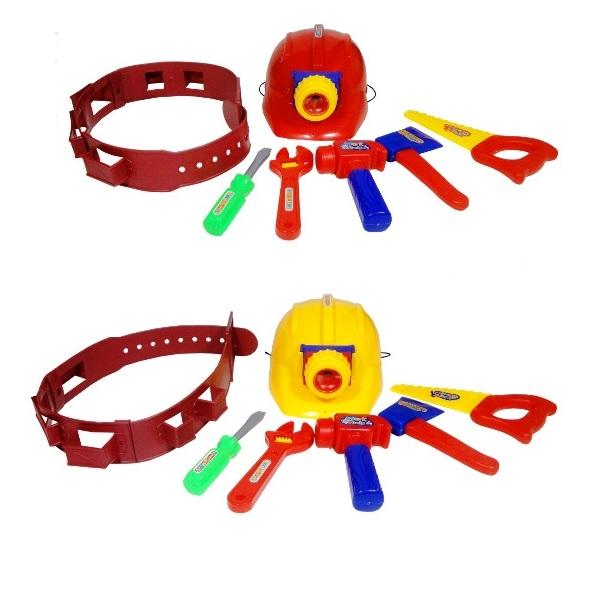 Dětské nářadí na opasku s přilbou se světlem - červená