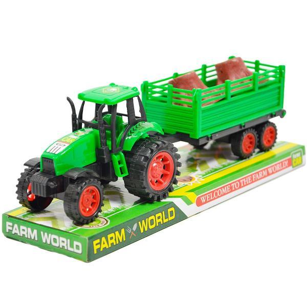 Levně Dětský traktor s vlečkou a dřevem - zelená