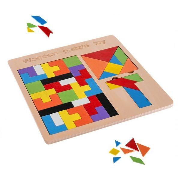 Dřevěná skládačka 3v1: Tetris, Tangram a T