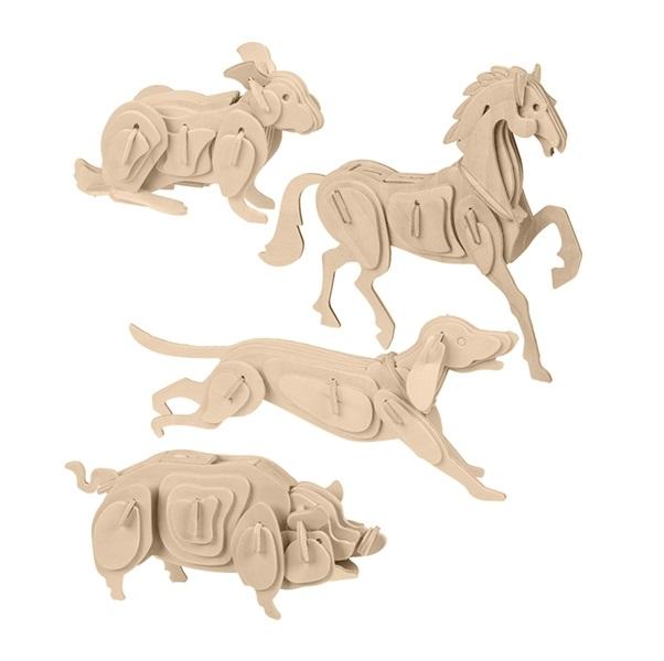 Dřevěné 3D puzzle - domácí zvířata - zajíček