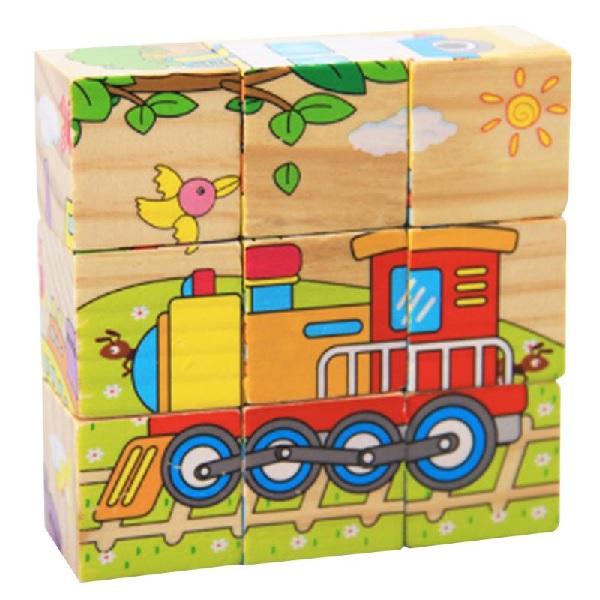 Dřevěné obrázkové kostky - vozidla