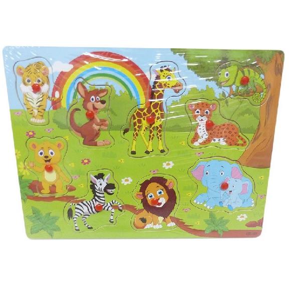 Dřevěné puzzle vkládačka: divoké zvířátka