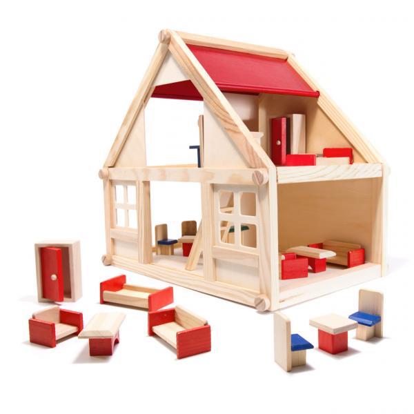 Dřevěný domeček pro panenky s doplňky