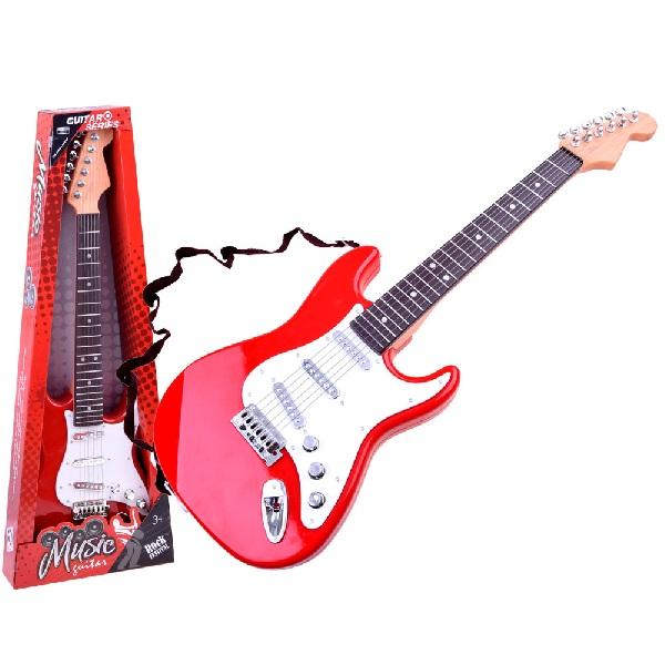 Elektrická rocková kytara červená