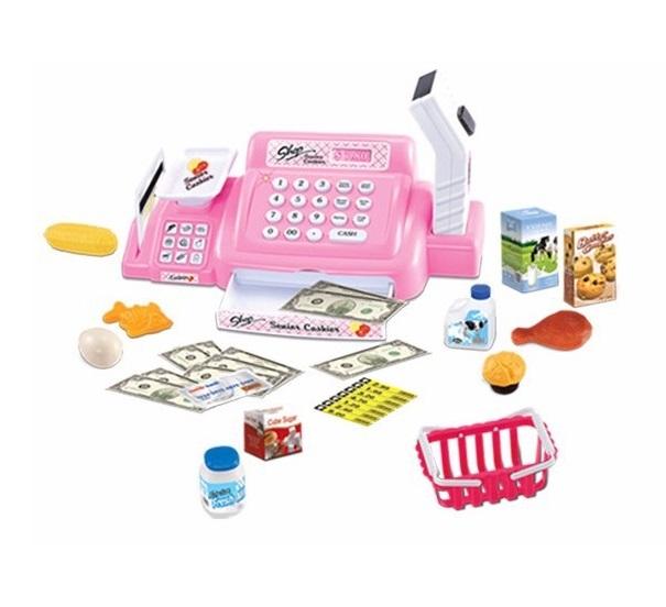 Elektronická pokladna s doplňky růžová
