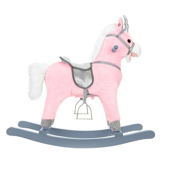 Houpací koník 74 cm - růžovo stříbrný