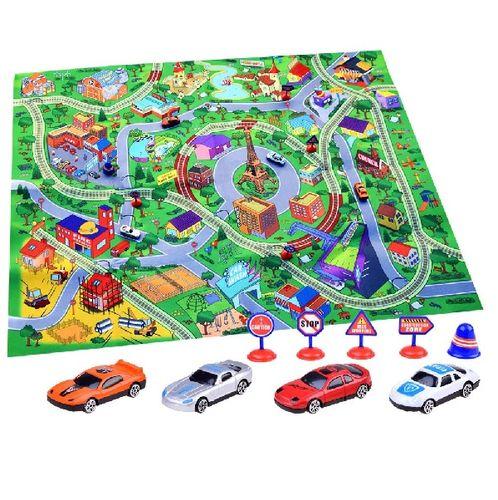 Hrací podložka města s ulicemi a auty