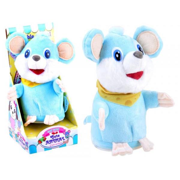 Interaktivní plyšová myška opakující slova - modrá