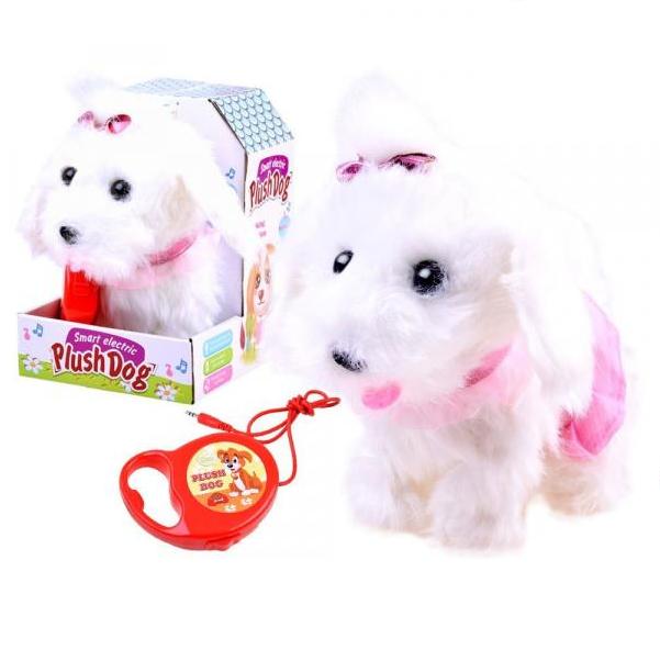 Interaktivní plyšový pes s vodítkem dlouhosrstý bílý