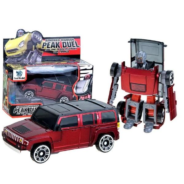 Kovové rozkládací auto ROBOT - červená