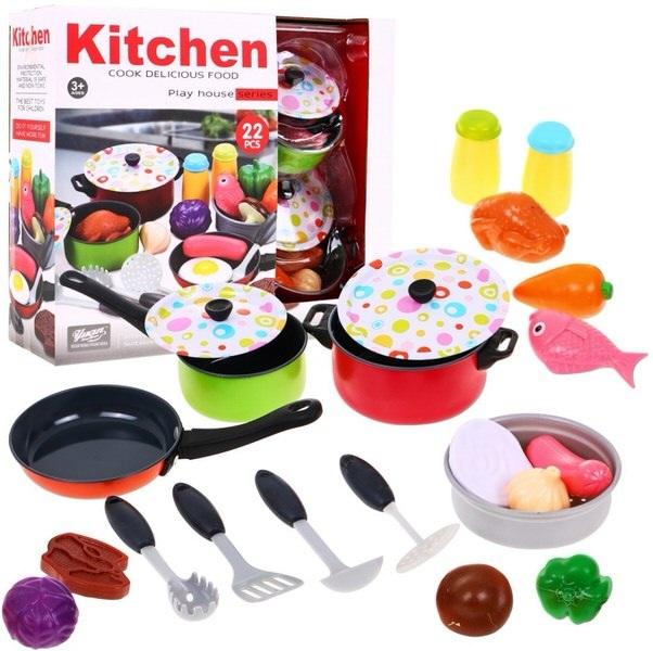 Kuchyňská souprava s doplňky 22 dílná - akce: zmačkaný roh krabice