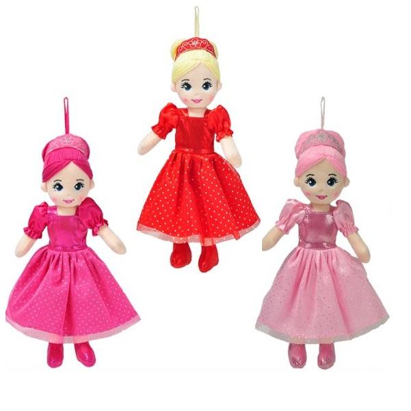 Látková panenka princezna 35 cm - červená