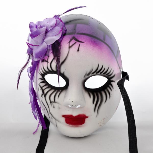 Levně Maska harlekýn z kvítkem - fialová