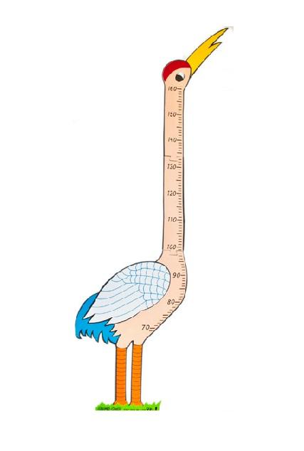 Nálepka na zeď - měřítko růstu jeřáb
