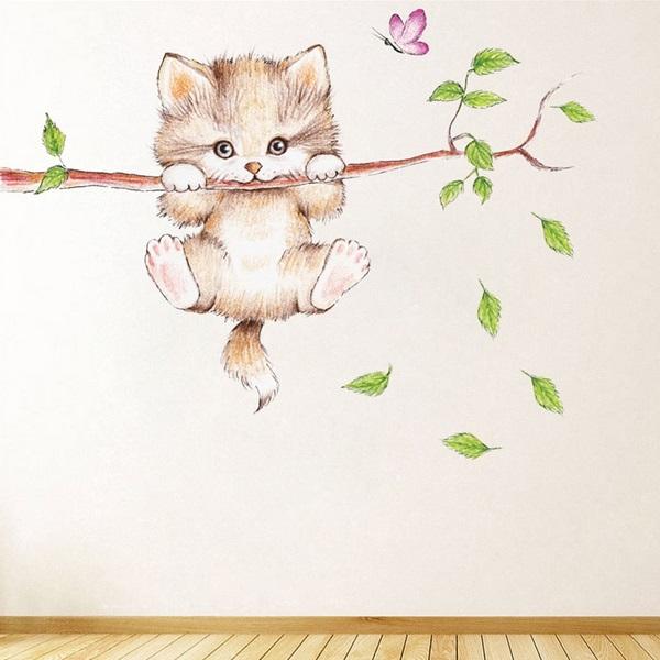 Nálepky na zeď kočička na větvi