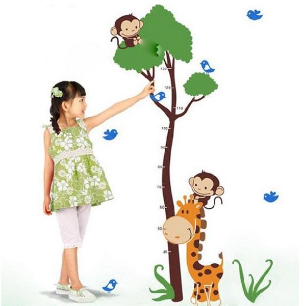Nálepky na stěnu - růstový metr ve tvaru stromu