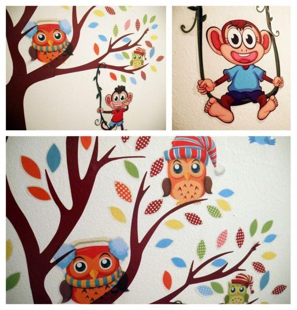 Nálepky na stěnu - strom se zvířátky