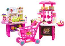 Dětská kuchyňka + obchod s nákupním košíkem