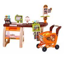 Dětský supermarket + nákupní vozík s příslušenstvím