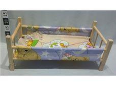 Dřevěná postýlka pro panenky s textilií