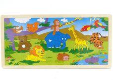 Dřevěné puzzle Divoké zvířátka u jezírka