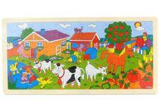 Dřevěné puzzle domácí zvířátka na farmě