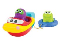 Motorový člun s vodními zvířátky