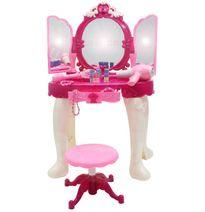 Růžový toaletní stolek se židlí