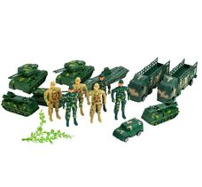 Sada postaviček vojáků s vojenskou technikou