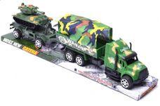Vojenské auto s přívěsem a tankem