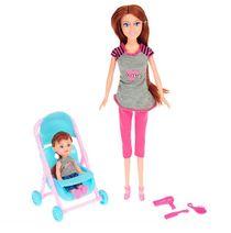 Panenka 29 cm s holčičkou v kočárku