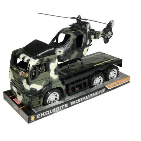 Nákladní vojenské auto s vrtulníkem