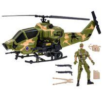 Vojenská helikoptéra s vojákem