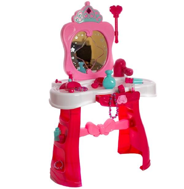 Růžový toaletní stolek se světlem