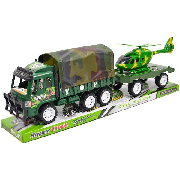 Vojenské auto s přívěsem a helikoptérou